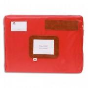 Pochette navette rouge en PVC à soufflets dimensions : 42x32x5cm - Alba