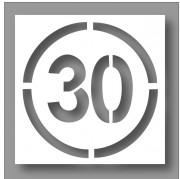 Pochoir panneau rond limitation 30km/h - En PVC souple - épaisseur 0.2 mm