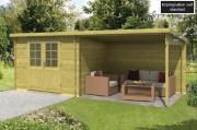 Pool house bois toit plat - En sapin imprégné - Épaisseur  : 28 mm - Dimensions : 300+298 x 250 cm