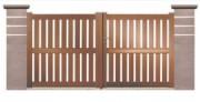 Portail bois 2 vantaux hauteur 1m40 - 2 ventaux : 1m40  de hauteur