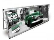 Porte bannière d'exposition horizontale - Dimensions (Lxh) : 2410 x 900mm