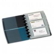 Porte-carte visite Proline, amovible. Capacité 90 cartes. PP rigide coloris noir/bleu translucide - Elba