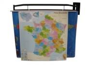 Porte cartes scolaires orientable - Dimension(LxHxP)cm:135 x 25 x 27.5-Châssis : Acier mécanosoudé