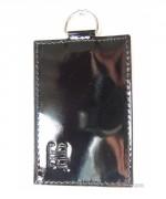 Porte-cartes pour femme cuir noir - Avec chainette et mousqueton - 2 Modèles : 1 ou 2 cartes