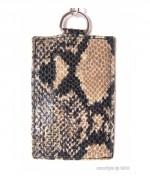 Porte-cartes pour femme motif serpent - Avec chainette et mousqueton - 2 Modèles : 1 ou 2 cartes