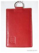 Porte-cartes pour femmes cuir rouge - Avec chainette et mousqueton - 2 Modèles : 1 ou 2 cartes