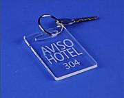 Porte clés hôtellerie plexi - Dimensions : 8 x 4 cm