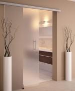 Porte coulissante verre a fixation mur ou plafond - Déplacement ultra silencieux