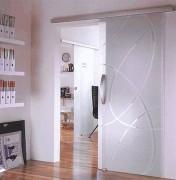 Porte coulissante verre interieur - Sans usinage du verre – Installation à l'intérieur