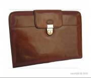Porte-documents en cuir avec serrure - 2 poches plates - 3 emplacements pour cartes de crédit et de visite