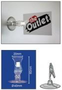Porte étiquette à pince avec ventouse - Largeur de la pince : 20mm