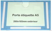 Porte étiquette transparent - Format A5 - Dimensions extérieures : 260x165x5 mm