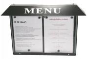 Porte menu extérieur lumineux pour restaurant - Capacité : 2 ou 3  pages - Dimensions d'affichage (cm) : 46 x 31 ou 68 x 31