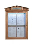 Porte menu LED rustique - Dimensions (cm) : 53 x 82 x 7 cm - Finition : Acajou