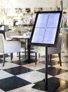 Porte menu LED sur pied - Acier galvanisé - Dimensions : 144 X 50 cm