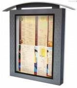 Porte menu mural lumineux en métal - Dimensions (cm) : 90 x 87 x 10
