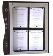 Porte menu mural pour extérieur 4 pages - Capacité : 4 pages - Modèle à simple face