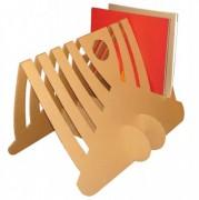 Porte revues en carton - 2 piètements - plaque carton pliée en V rainurée