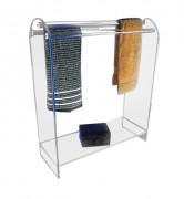 Porte serviette plexi sur pieds - Plexiglas épaisseur 1 cm - Dimensions (LxPxH) 67 x 25 x 80 cm - 3 barres rondes de 65 cm
