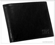 Portefeuille noir en cuir de vachette