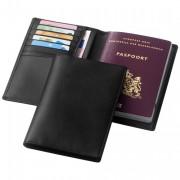 Portefeuille passeport personnalisable - En Croûte de cuir - 61 gr - Noir