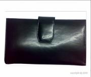 Portefeuille pour femme cuir noir avec languette