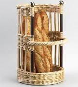 Porteuse à pain avec barres en fer - Dimensions : 47 x 30 - Osier et fer