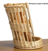 Porteuse à pain inclinée - Diamètre : 30 x 45 - Osier blanc et contreplaqué