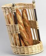 Porteuse à pain inclinée barres en fer - Dimensions : 47 x 30 - Osier et fer