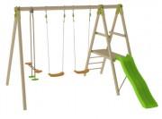 Portique avec toboggan bois - Dimensions hors tout (L x l x H) cm : 313 x 314 x 230