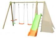 Portique balançoire 7 enfants - Dimensions hors tout (L x l x H) cm : 403 x 382 x 230
