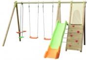 Portique balançoire 8 enfants - Dimensions hors tout (L x l x H) cm : 375 x 382 x 230