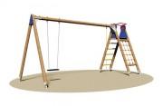 Portique balançoire avec escalier - Dimensions (L x P x H) cm :  195 x 545 x 255