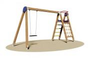 Portique balançoire avec filet à grimper - Dimensions (L x P x H) cm : 150 x 430 x 230