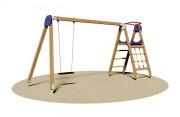 Portique balançoire en bois pour enfants - Dimensions (L x P x H) cm : 375 x 140 x 200