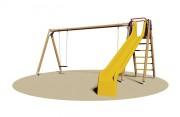 Portique balançoire et toboggan en bois - Dimensions (L x P x H) cm : 545 x 440 x 255