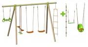 Portique balançoires pour 6 enfants - Dimensions hors tout (L x l x H) cm : 372 x 218 x 230