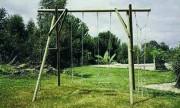 Portique bois à 2 balançoires - Longueur hors tout : 3.50 m - Hauteur de la poutre : 2.50 m