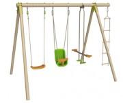 Portique bois pour 5 enfants - Dimensions hors tout (L x l x H) cm : 325 x 214 x 230