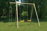 Portique en bois pour air de jeux - Dimensions hors tout (L x l x H) cm : 251 x 214 x 230