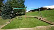 Portique en bois pour aire de jeux - En bois de Rondin - Dimensions( LxPxH) : 300 x 230 x 225 cm