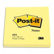 POST-IT Bloc néon repositionnable de 100 feuilles 76 x 76 mm jaune 654NY - Post-it®