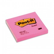 POST-IT Bloc néon repositionnable de 100 feuilles 76 x 76 mm rose 654NP - Post-it®