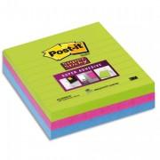 POST-IT Lot 3 blocs de70f Sticky ligné 10x10cm. Coloris citronvert, fuschia, turquoise BP333 675-3SSMX - Post-it®