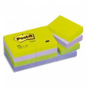 POST-IT Lot de 12 blocs repositionnables coloris menthe dimensions 38x51mm 65T - Post-it®