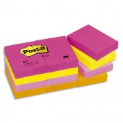 POST-IT Lot de 12 blocs repositionnables coloris tutti-frutti dimensions 38x51mm 653TF - Post-it®