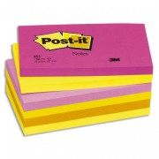 POST-IT Lot de 6 blocs repositionnables coloris tutti-frutti dimensions 76x127mm 655TF - Post-it®