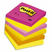 POST-IT Lot de 6 blocs repositionnables coloris tutti-frutti dimensions 76x76mm 654TF - Post-it®