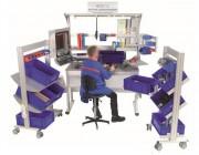 Poste de travail point qualité d'atelier - Matière : aluminium  -  3 types de plateaux