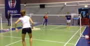 Poteau de badminton acier compétition - Dimensions : 40 cm de large - Plastifié blanc